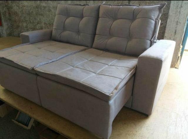 Sofá retrátil e reclinável em tecido SUED modelo Débora com pillow NOVO