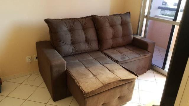 Sofá retrátil e reclinável em tecido SUED modelo Débora com pillow NOVO - Foto 3