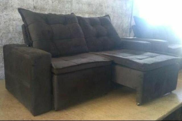 Sofá retrátil e reclinável em tecido SUED modelo Débora com pillow NOVO - Foto 5