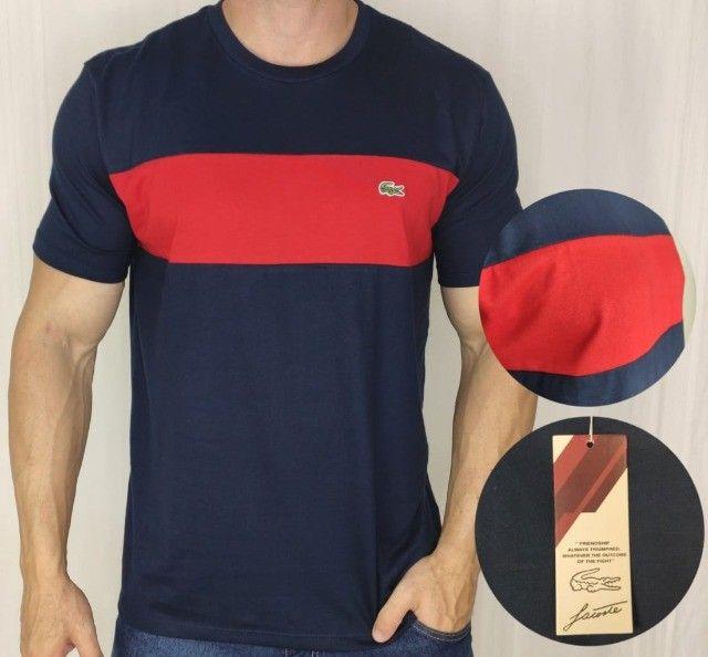 Camiseta Lacoste Importada Double Chest Azul/Vermelha G