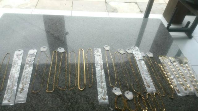 Cordões puseiras e braceletes aço inóxidavel folheados tops - Foto 6