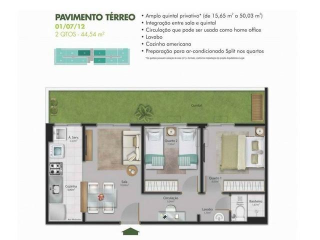 SAM 199 Condomínio Vista do Bosque - 2 quartos 45m² + quintal 15m² - Foto 4