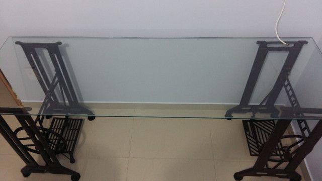 Mesa Escritório Pé Máquina de Costura Ferro e Vidro 8mm - Foto 2