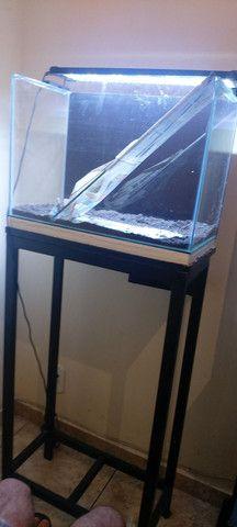 Aquario completo 50x27x36 vidro novo. - Foto 3
