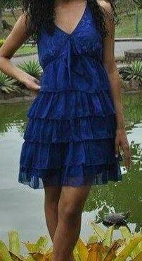 Vestido de babado tule azul