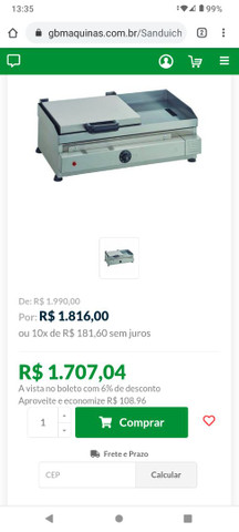 Chapa/Sanduícheira EDANCA 60x35cm elétrica 220v - Foto 4