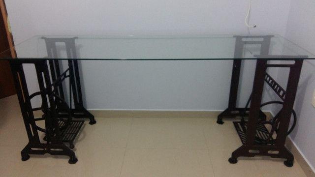 Mesa Escritório Pé Máquina de Costura Ferro e Vidro 8mm