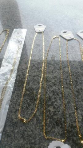 Cordões puseiras e braceletes aço inóxidavel folheados tops - Foto 2