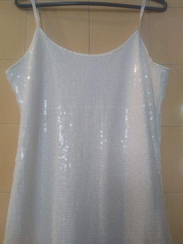 Vestido Paetê Branco(M) - Foto 2