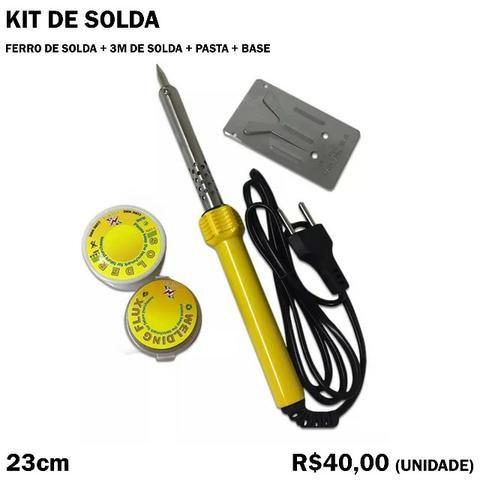 Kit de Solda Ferro de Solva + 3m de Solda + Pasta + Base 110v