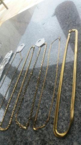Cordões puseiras e braceletes aço inóxidavel folheados tops - Foto 4
