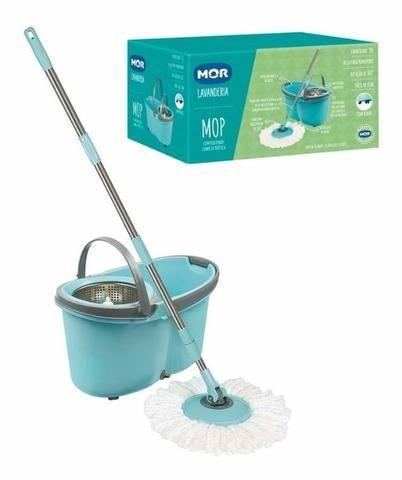 Balde Esfregão Mop Limpeza Prática Com Rodas - Mor - Foto 3