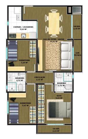 Apartamento com 1 Suíte mais 2 Quartos - Churrasqueira na Sacada - Leia o Aníncio !!! - Foto 3