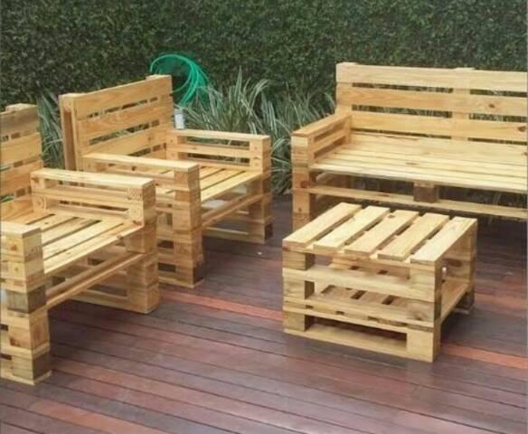 Fabricamos móveis e peças decorativas, com paletes ,sob encomenda - Foto 3