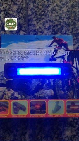Led para bicicleta recarregável, potente, azul e vermelho, 2em1.(retirada Jordão) - Foto 4
