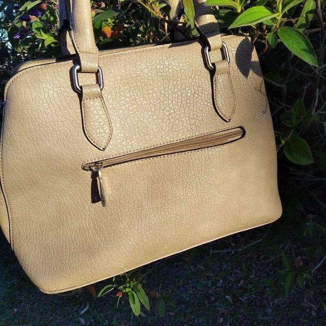 Bolsa feminina de mão linda bege Vivatti couro  - Foto 5