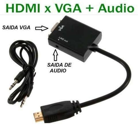 Adaptador Conversor Hdmi Para Vga Com Áudio P2 Placa de video Monitor ps3