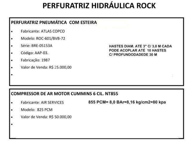 Perfuratriz Pneumática Atlas Copco ROC 601 c/ Compressor de ar 825 PCM - Foto 6