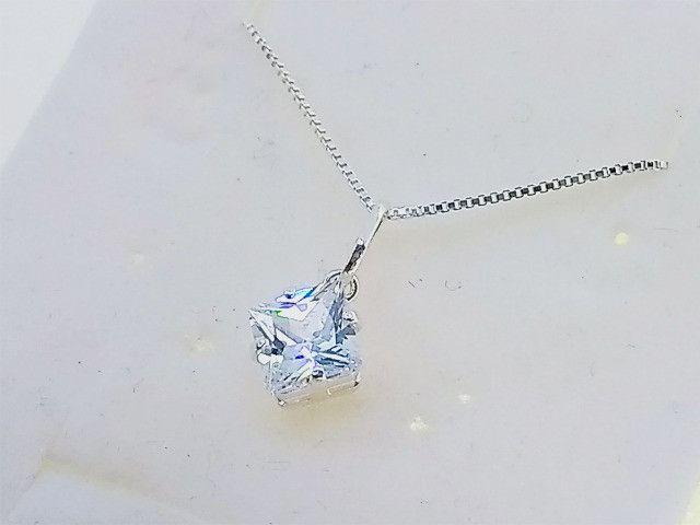 Corrente Prata Pura 925 Feminina + Pingente Ponto de Luz Quadrado 6 mm