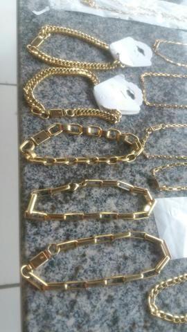 Cordões puseiras e braceletes aço inóxidavel folheados tops - Foto 3