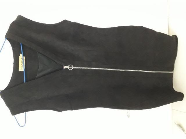 Vestido preto de festa, tecido camurça