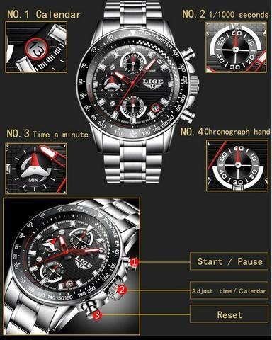 Última peça_Relógio cronógrafo de luxo_100% funcional_importado_novo_!! - Foto 2