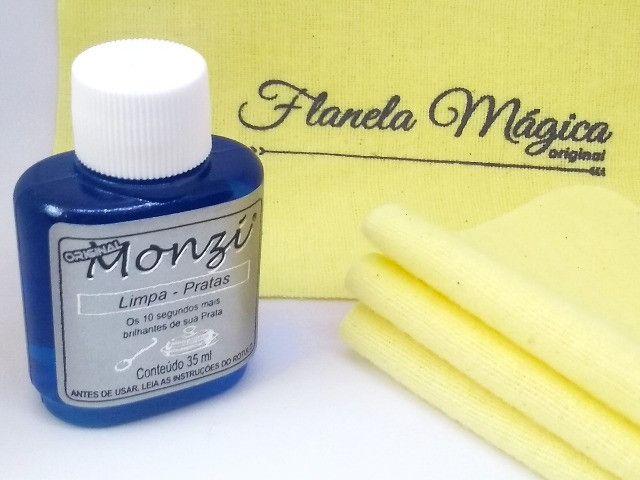 Kit 1 Limpa Prata Monzi 35 ml + 3 Flanelas Magicas - Foto 2