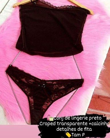 <br>Conjunto de lingerie preto croped transparente - Foto 2