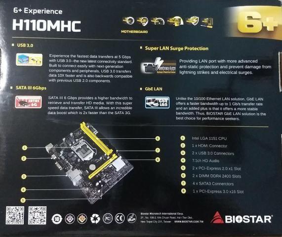 Placa Mãe 1151 - Biostar H110mhc Ddr4 S/v/r/hdmi/usb 3 0 Box