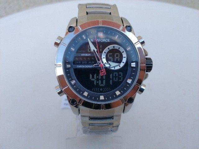 Relógio original naviforce! display digital e analógico, resistente a água, modelo 9163    - Foto 3