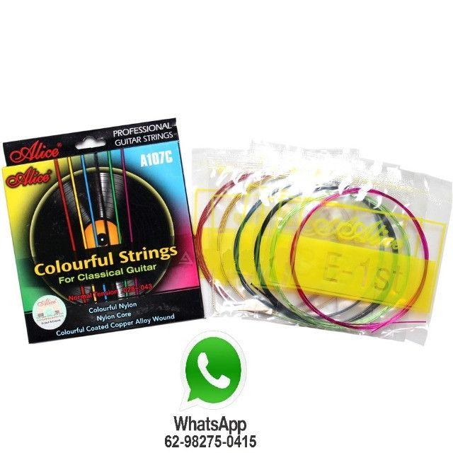 Jogo de Cordas Coloridas de Nylon para Violão