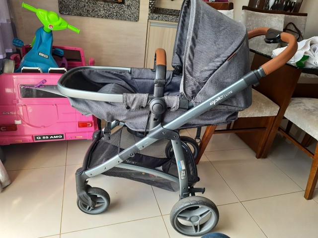 Carrinho bebe 3x1 luxo infanti epic lite couro travel system base isofix - Foto 4