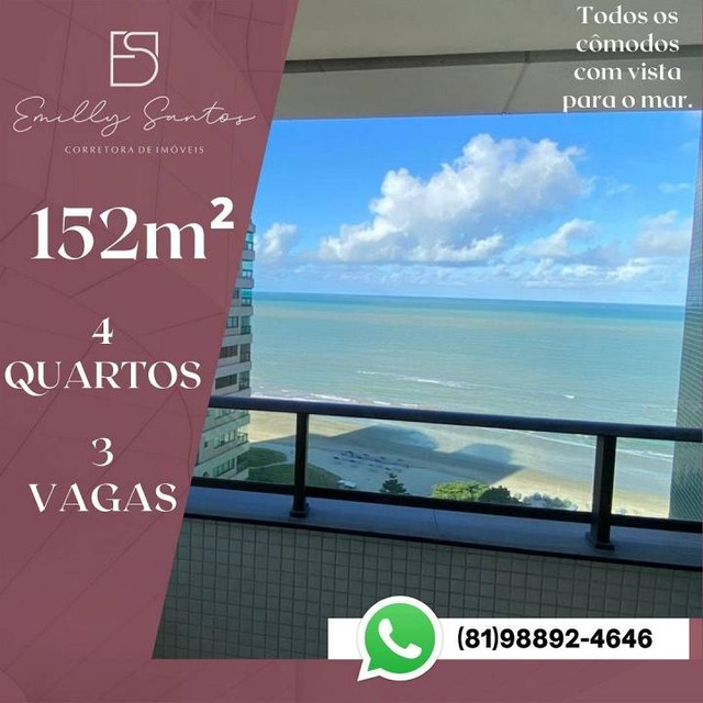 Apartamento para venda com 152 metros quadrados com 4 quartos em Pina - Recife - PE - Foto 2