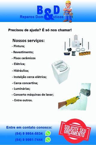 Conserto máquina de lavar; instalação cerca elétrica; pintura; elétrica; luminárias;
