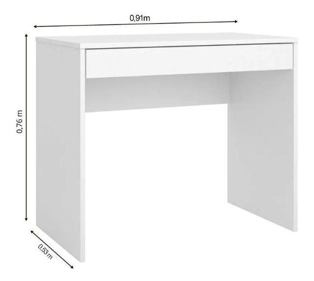 Escrivaninha Com 1 Gaveta Branco - Foto 2