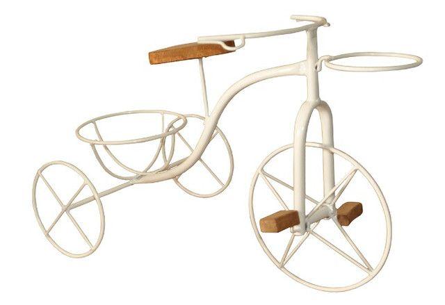 Bicicleta Artesanal Porta Vaso Em Ferro e Madeira