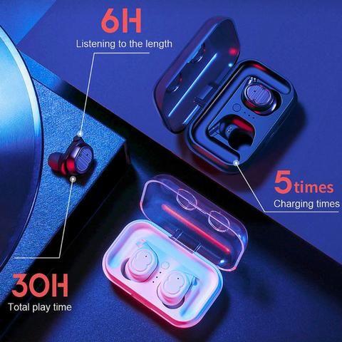 Mini Fone de Ouvido Sem Fio Tws Sanlepus Bluetooth 5.0 Cor Branca - Foto 2