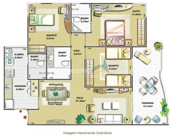 Apartamento 3 Quartos (1 Suíte) com Armários, 2 Vagas, Alto, Teresópolis, RJ - Foto 12