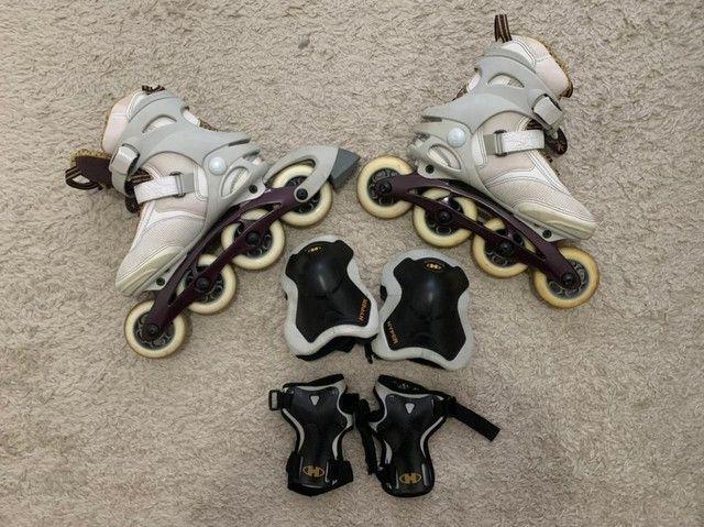 Roller Blades feminino com joalheiros e munhequeira tamanho 33
