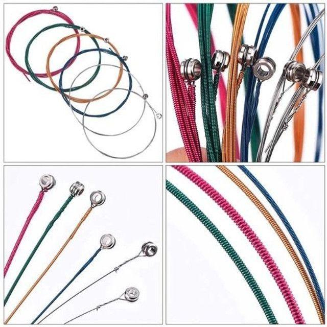 Jogo de Corda de Aço para Violão - Cordas Coloridas - Foto 3