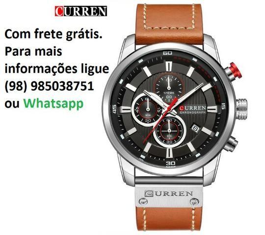 3ab6b05f298 Relógios Masculino Curren Sporte Pulseira De Couro Quartzo ...
