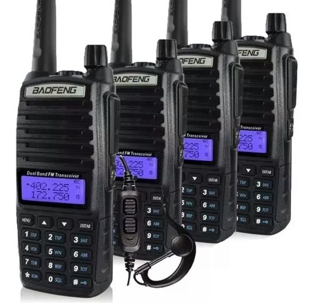 Kit 4 Rádio Ht Comunicador 5w Bf Uv-82 Dual Band Fm - Foto 3