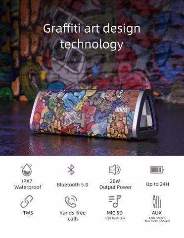 Caixa De Som Bluetooth 5.0 Mifa A10+ Black-graffiti 20w Ipx7  - Foto 3