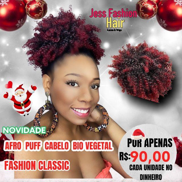 Afro Puff Bio vegetal/Aplique - Foto 2