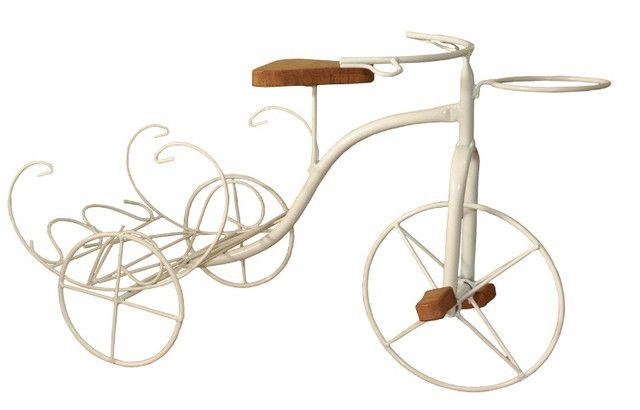 Bicicleta Rústica Porta Vaso Com Revisteiro Em Ferro E Madeira