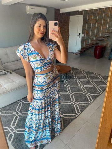 Conjunto estampado (vestido, saia, Cropped, madrinha)
