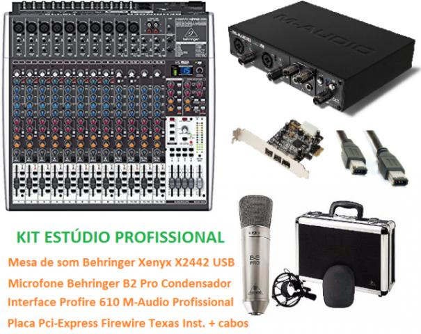 KIT ESTÚDIO PROFISSIONAL, Mesa de som, interface e placa + Microfone