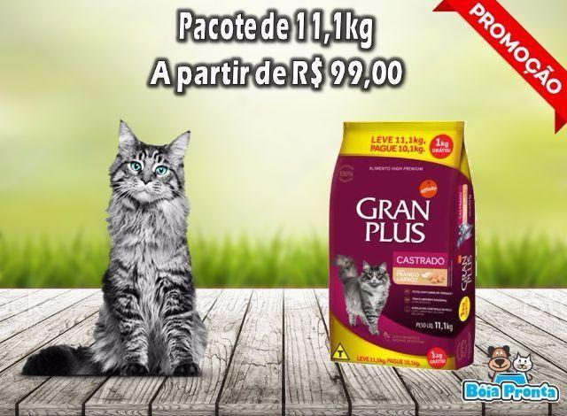 Ração Gran Plus 10kg Gato Castrado frango e arroz de R 115,00 por R 99,00 com mais 1kg
