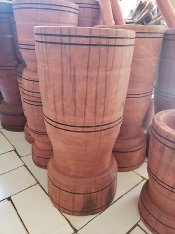Pilão de madeira rústica novo - Foto 2