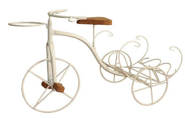 Bicicleta Rústica Porta Vaso Com Revisteiro Em Ferro E Madeira - Foto 5